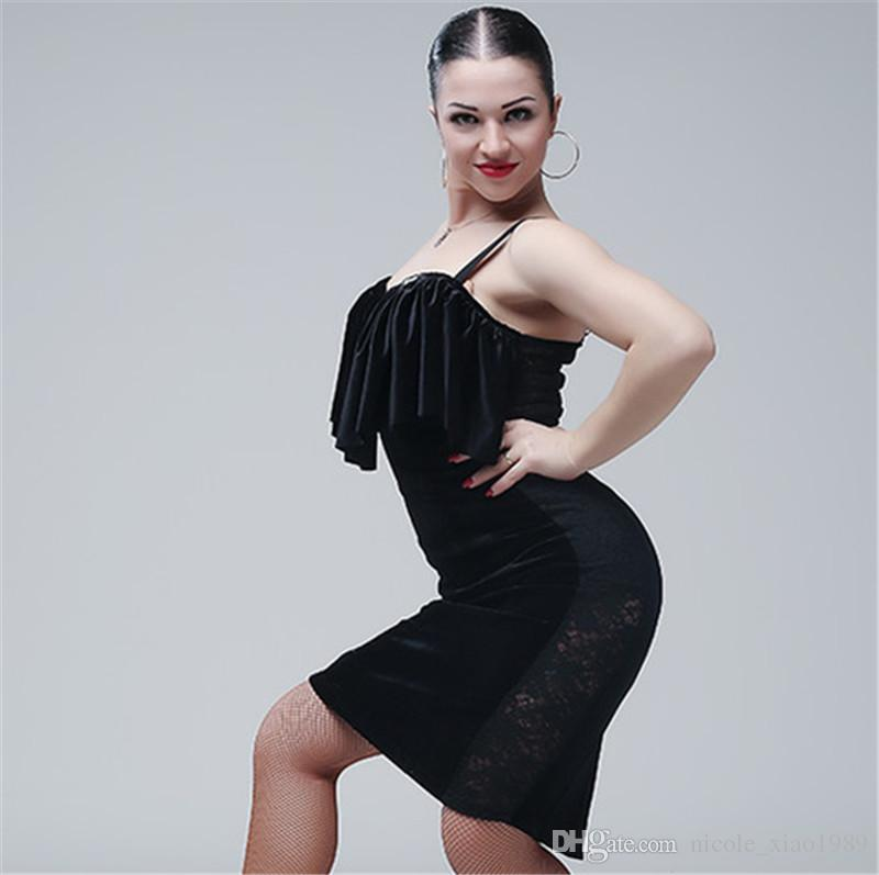 c815d22cc Black Adult Girl Latin Dance Dress Salsa Tango Chacha Ballroom ...