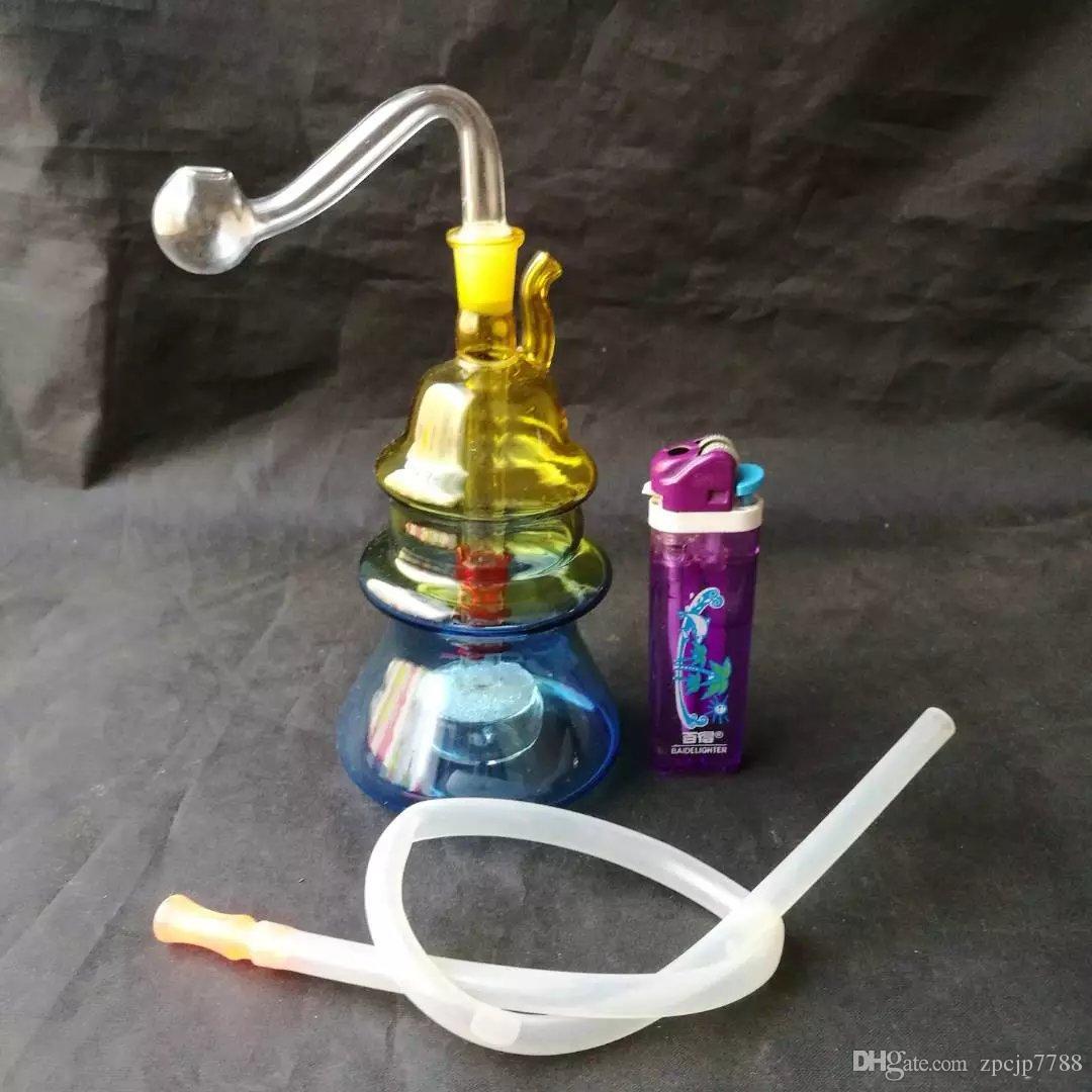 Variété d'accessoires de bongs de gradient de narguilé, becs en verre uniques de bongs de verre tuyaux d'eau tuyaux en verre de tuyau d'huile fumant avec compte-gouttes