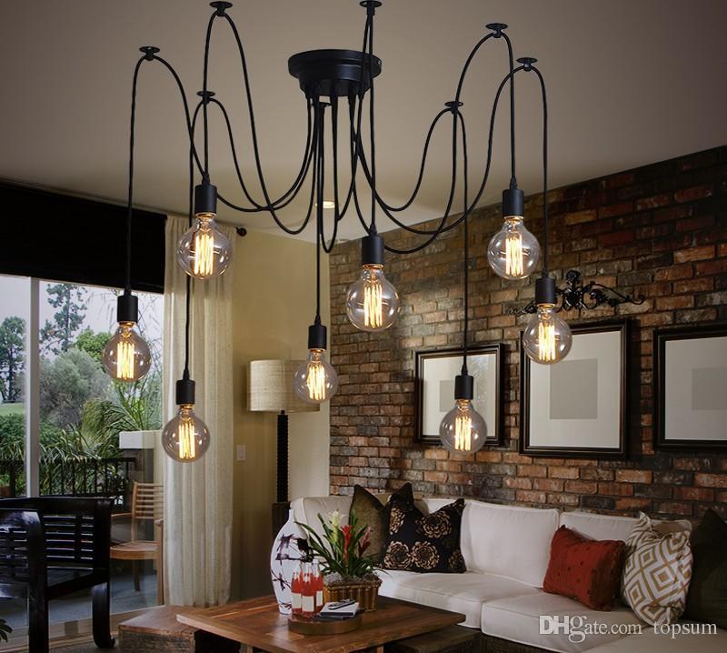 Discount Vintage Edison Multiple Ajustable Diy Ceiling Spider Lamp Light Pendant Lighting Modern Chic Industrial Dining Designer Lights Room