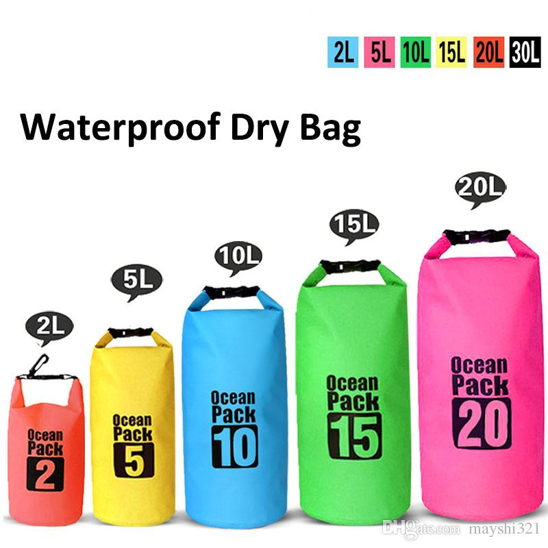34e85eec8234 2019 Outdoor Lightweight Dry Bags Waterproof Bag Bucket Pouch Drifting  Swimming Canoe Boating Mountaineering Travel Kit Package Beach Storage Bag  From ...