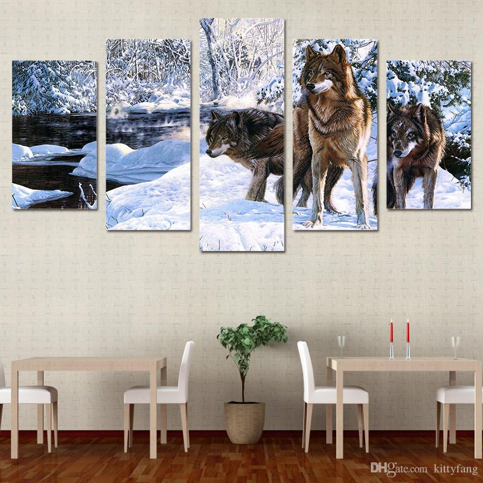 Framed HD Printed Snow Wolf Ice Lake Animal Wall Art Canvas Print Poster Canvas Pictures Oil Painting Artworks