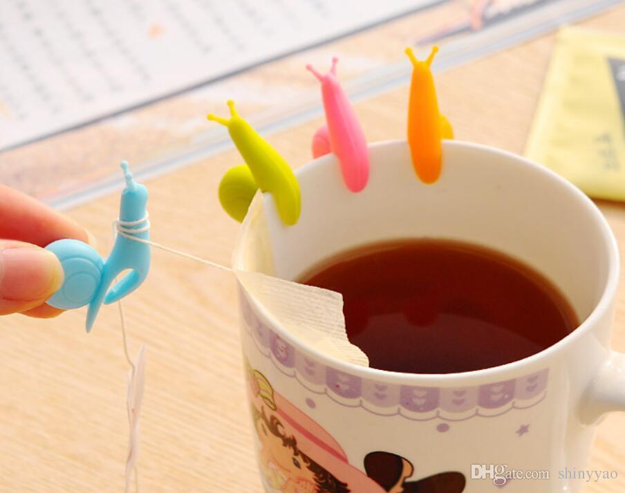 Kostenloser Versand - Hängende Clips des netten Teebeutels Silikon-Schneckeglasaufkleber Tee-Ei Party liefert