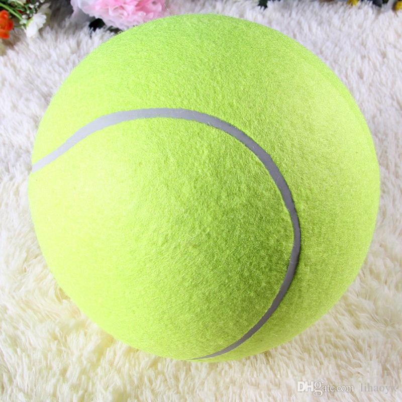 24CM Giant Tennis Ball For Pet Chew Toy Big Inflatable Tennis Ball Signature Mega Jumbo Pet Toy Ball Supplies Outdoor Cricket TO135
