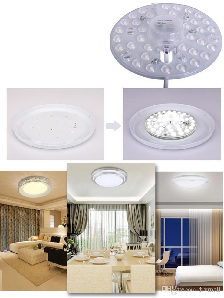 12W 18W 24W 36W SMD 2835 Module LED Plafonnier LED Plafond Lampe de lumière magnétique circulaire AC85-265V Anneau Rond Panneau LED Panneau avec Aimant