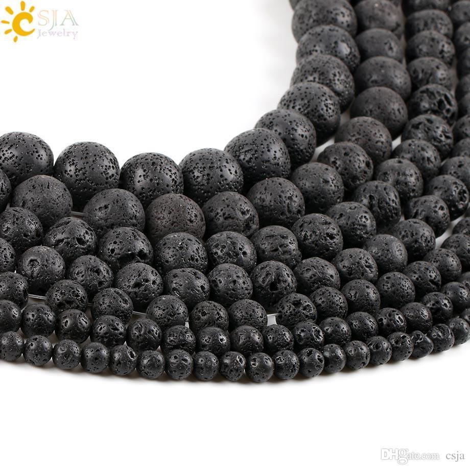 CSJA Remise 8mm Perles Noires Pur Lava Rock En Vrac Naturel Guérison Pierre Perles pour Faire Mâle Femelle Collier Bracelet Bijoux DIY E193 C