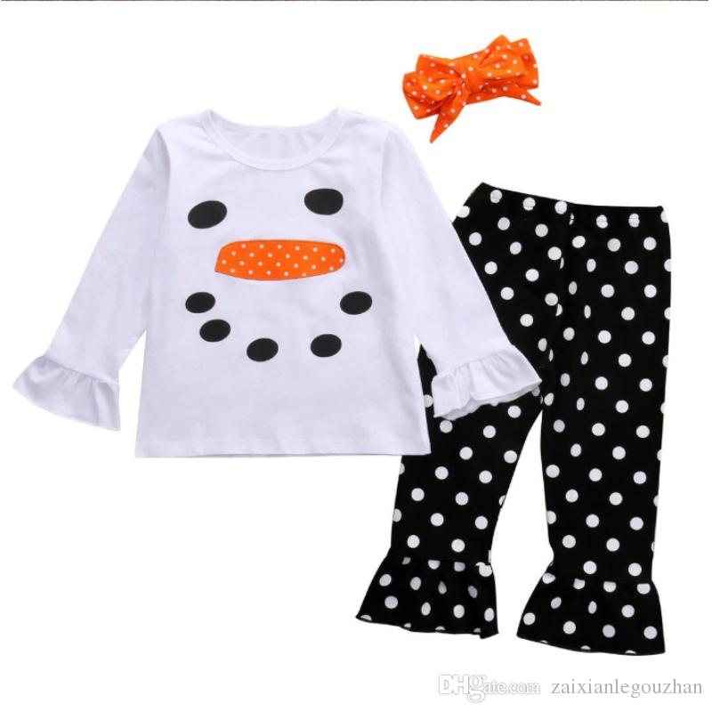 2017 enfants Bébé filles vêtements Toddler Vêtements Set Automne Nouveau-Né Infantile Boutique Costume Costume À Manches Longues Chemise Pantalon Pantalon noël