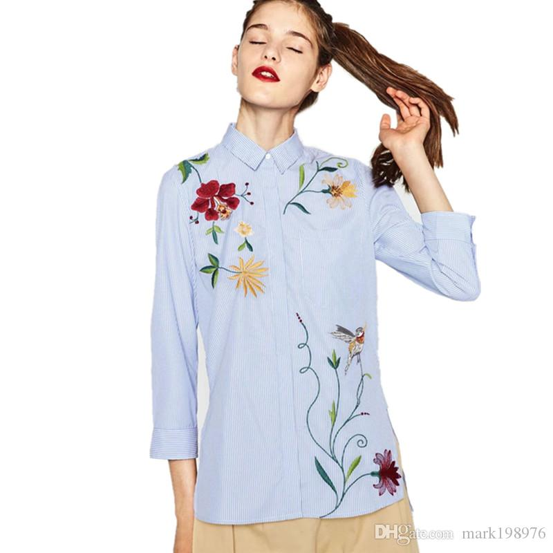1c7e4de0c0cbfd 2018 Casual Women Shirt 2017 Spring Autumn Long Blouse Fashion Flower  Embroidery Loose Shirts Irregular Length Ladies Blouses ST096 From  Mark198976