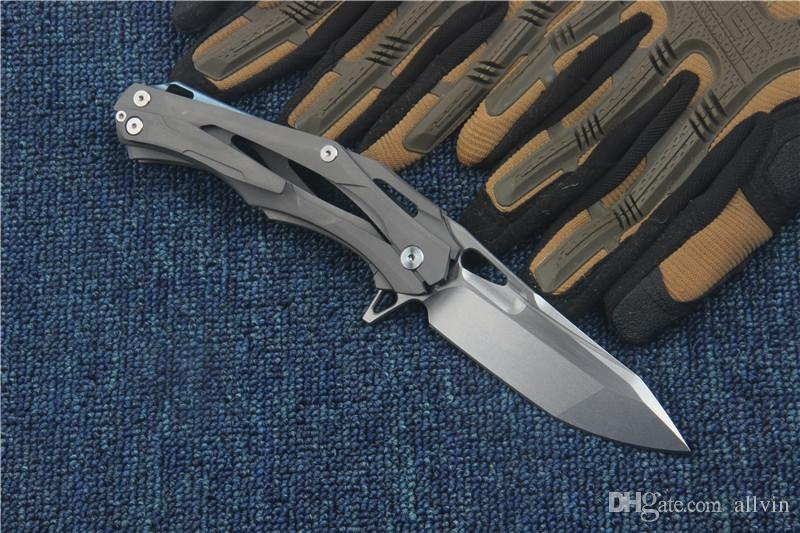 High End Transformers Survival Tactical Flipper folding knife D2 60HRC Stonewash blade TC4 Titanium Handle EDC pocket folding knives