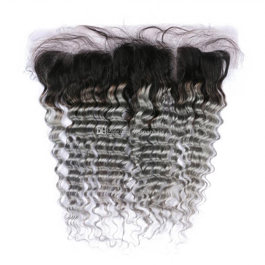 Şerit Gri İnsan Saç Derin Dalga Kulak Ile Kulak Dantel Frontal 1b Gri Koyu Kök Ombre Perulu Bakire Saç Dantel Frontal Ile