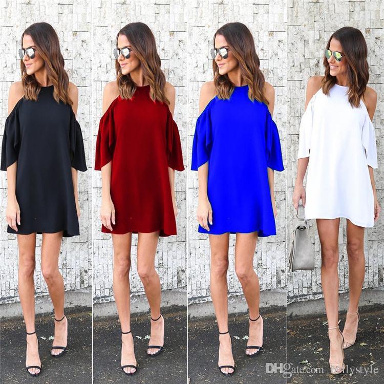 0828932178833 Women Sexy Off Shoulder Large Size Dresses 2017 New Summer Short Sleeve  Dark Blue Black White Loose Mini Dress Plus Size 2XL 3X DHL Nx170909 Green  Dresses ...