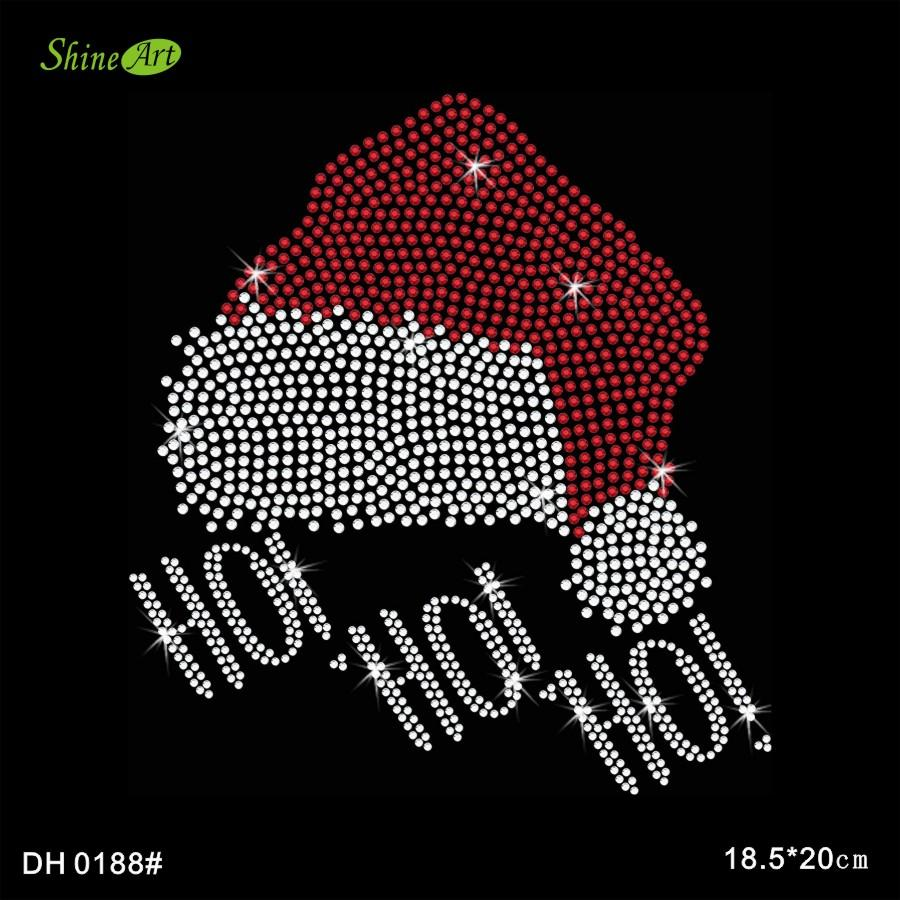 Twisted Envy Happy Santa Hat Rhinestone Diamante Crystal Iron On T Shirt Design Transfer DIY DH0188#