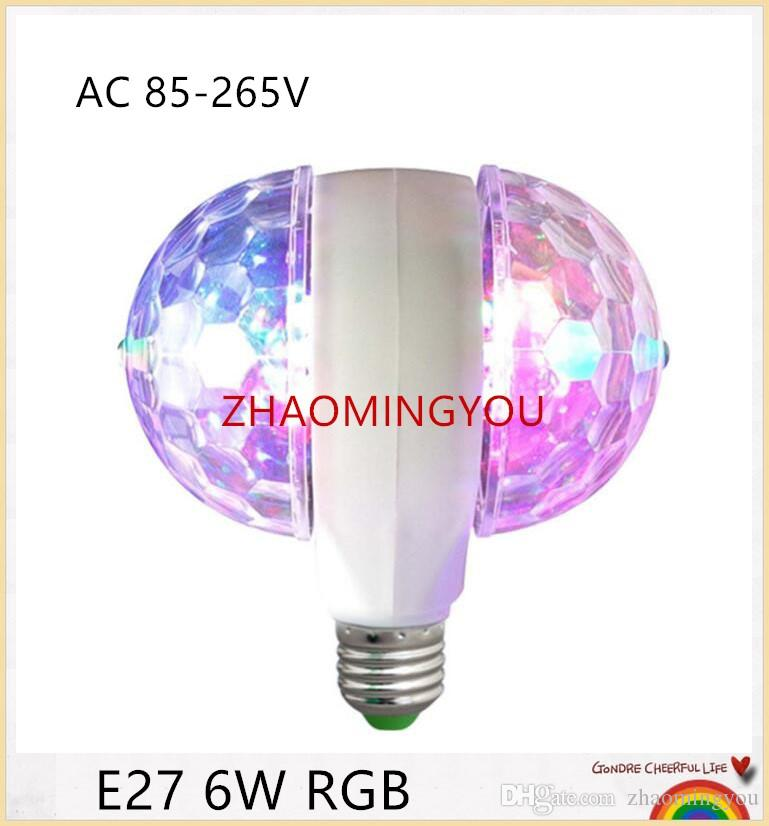 YOU E27 6W RGB LED Double headed Colorful Revolving Lamp Crystal