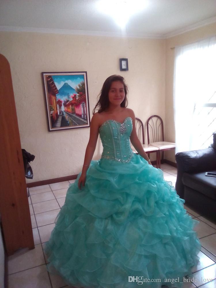 362718636 Compre 2018 Nuevo Elegante Vestidos De Bola Menta Azul Vestidos De  Quinceañera Con Cuentas Cristales Lace Up Sweet 16 Vestidos 15 Año Prom  Vestidos Stock ...