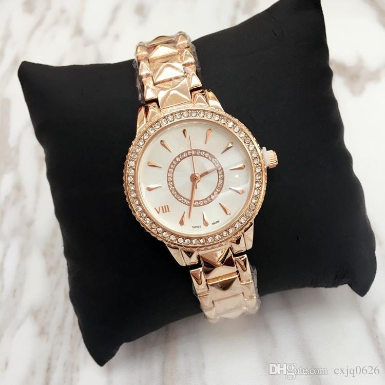 Топ дизайн Роскошные Женские часы Леди благородный женский кварц Стальной Браслет-Цепочка роза Платье Часы с бриллиантом Япония Движение оптовая цена