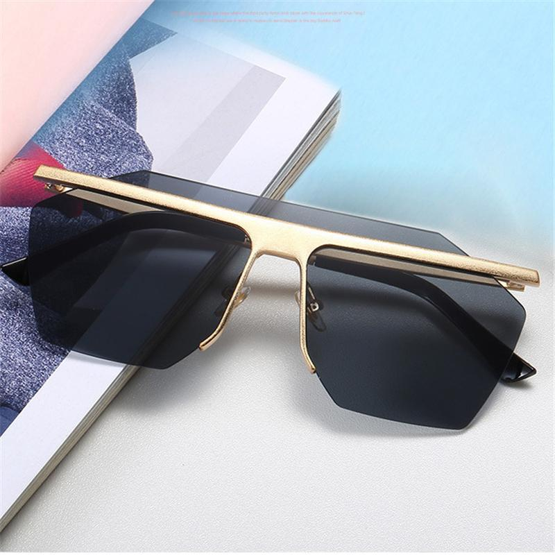 New Brand Mens Designer Sunglasses With Metal Half-Frame Personality ... eb3ddbb50a56
