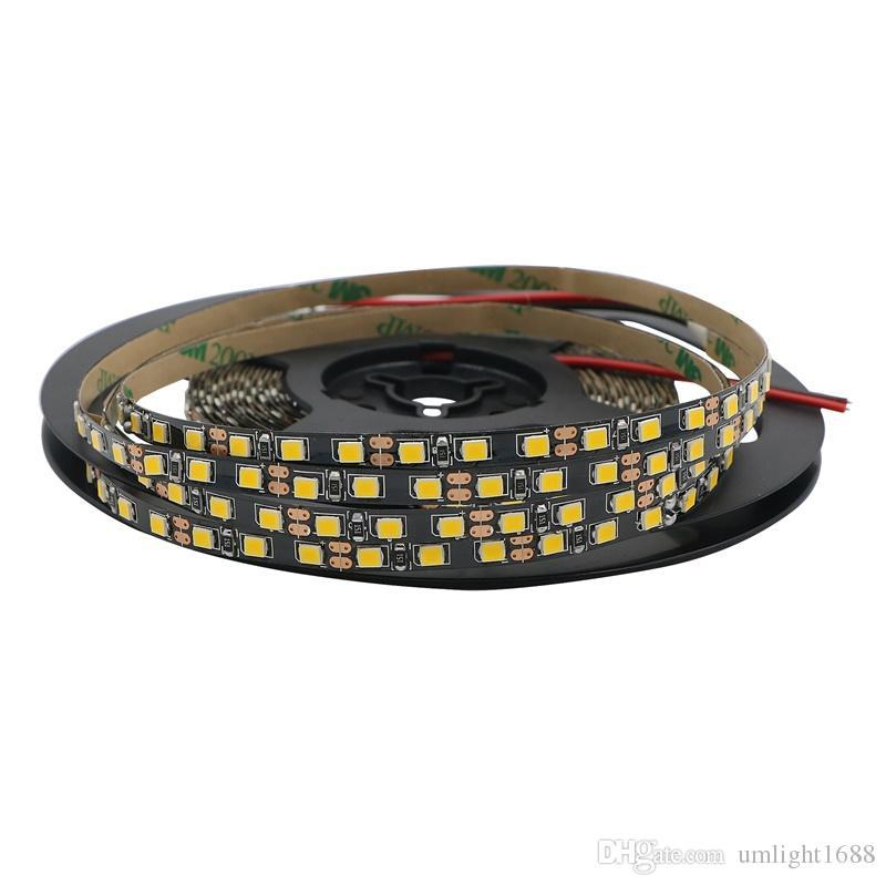 Parlak DC12V 5m 16.4ft 600leds120led / m Dar Yan 5mm Beyaz / Siyah PCB Genişliği 2835 SMD Esnek Olmayan Su geçirmez Led Şerit Bant Işık