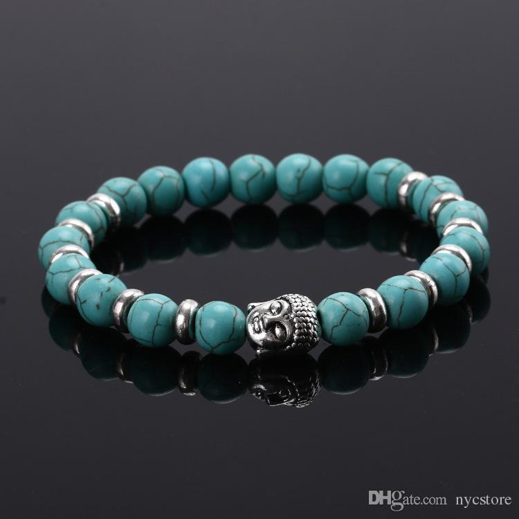 Natural Stone Bead Buddha Bracelets For Women and Men Silver Buddha Tiger Eye Beads Black Lava Energy Bracelet