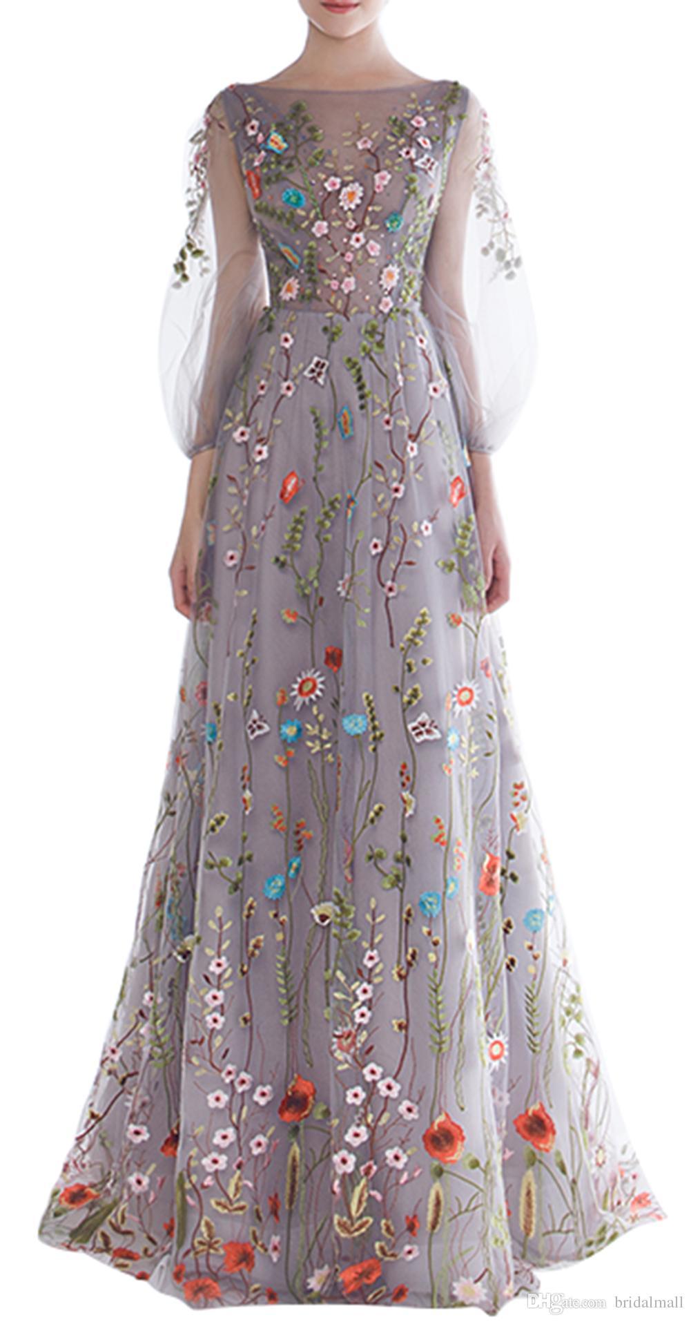 Dobelove Femmes manches longues robes de bal de bal 2019 branchement floral broderie A-ligne robes de soirée robes de guiche de fête formelle robe de pageant