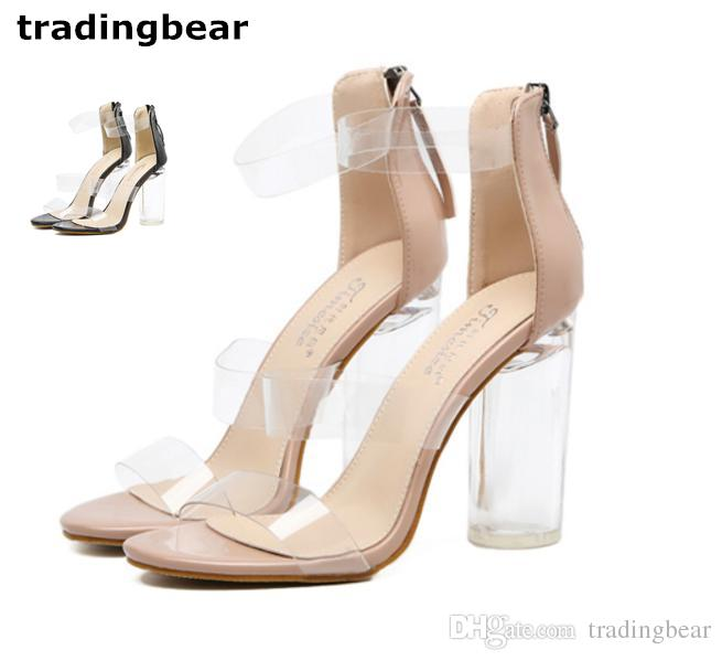 c69734b6b77 Sandals For Women High Heels Ankle Strappy Clear Chunky Transparent Dress  Sandal Wedding Shoes Size 35 To 40 Shoes For Women Nude Wedges From  Tradingbear