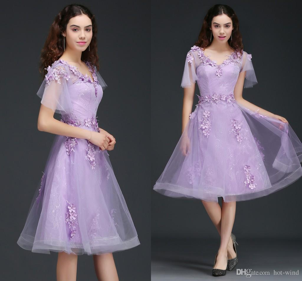 Lilac v neck cap sleeves short bridesmaid dresses 2018 new cheap lilac v neck cap sleeves short bridesmaid dresses 2018 new cheap tulle lace corset back party dresses short prom homecoming dress cps673 two piece ombrellifo Images
