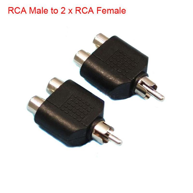 RCA AV Audio Y Splitter adaptador de enchufe 1 macho a 2 x 2 Enchufe hembra TV por cable convertidor de plomo