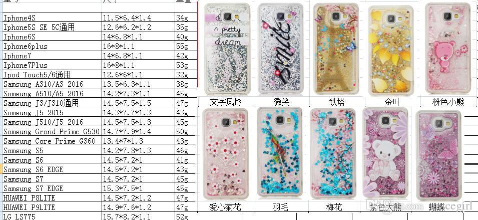 Cartoon Quicksand Liquid Soft TPU Case For Samsung Galaxy S5 S7 S6 EDGE Grand Prime G530 Core G360 3D Glitter Flower Eiffel Tower Skin Cover