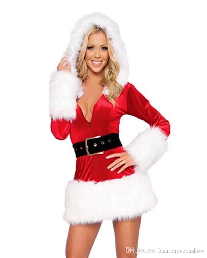 2 couleur classique sexy de Miss Père Noël Costume Fantaisie Femmes Robe Capuche + chapeau + Party Performance Ceinture de Noël Outfit
