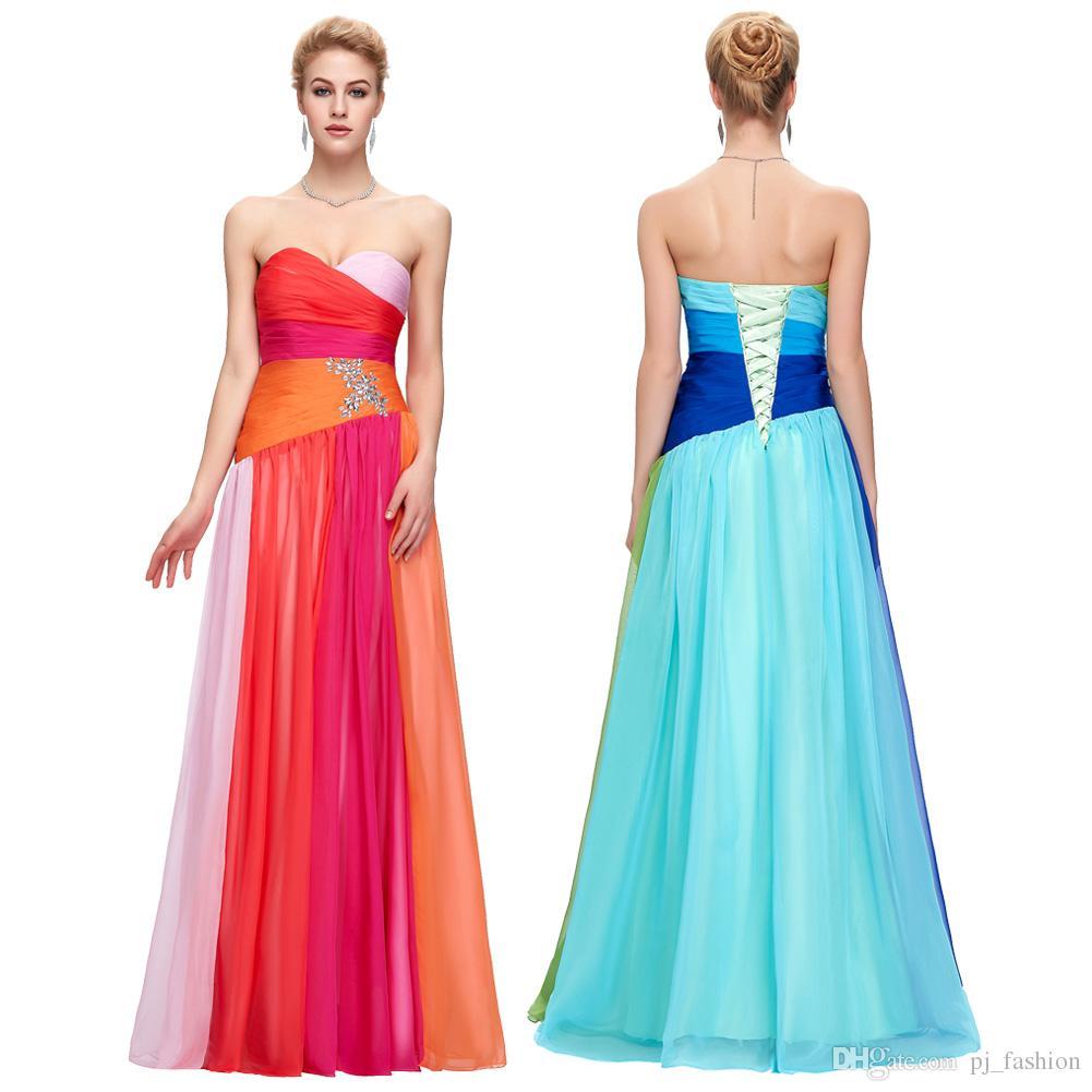Compre Grace Karin Nuevo Coloridos Vestidos De Novia A Line Lace Up ...