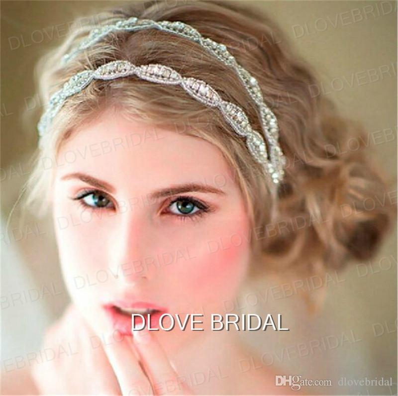 Heißer Verkauf Romantische Braut Haarband Strass Hochzeit Stirnbänder Zwei Reihe Kristallband Tie Backs Prom Party Haar Zubehör Kostenloser Versand