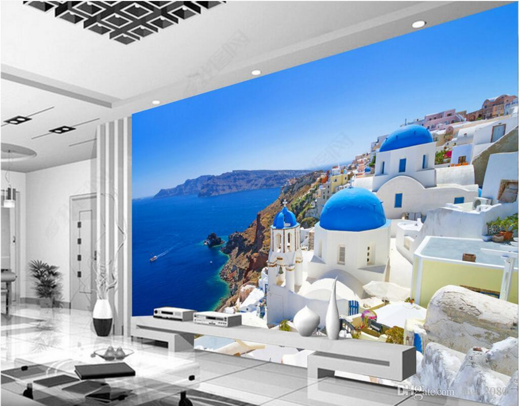 3d room wallpaper custom photo mural Greek love sea white castle TV background decor painting picture 3d wall murals wallpaper for walls 3 d