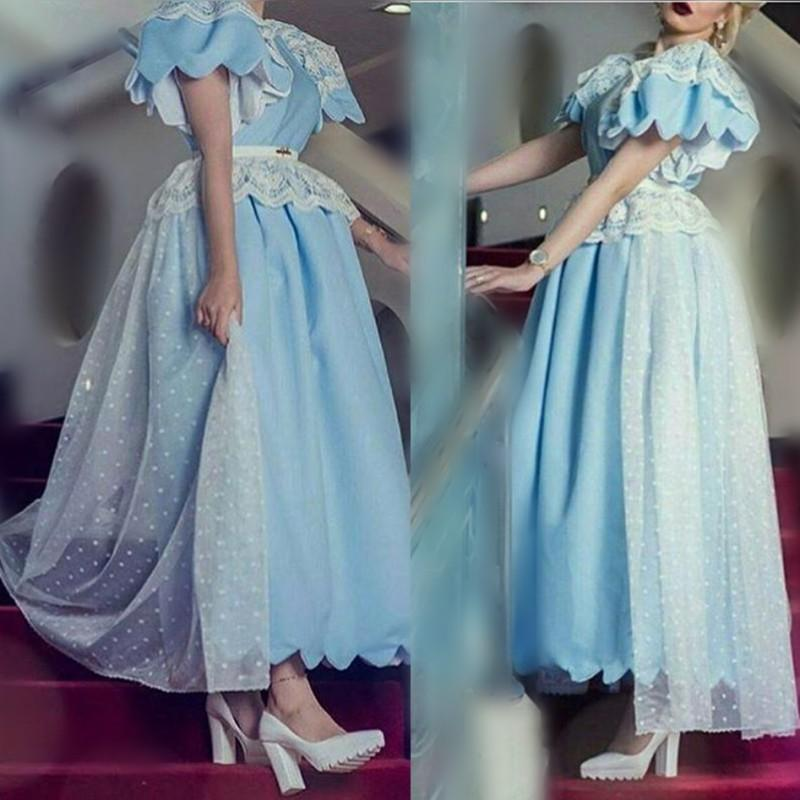 e10795a90658 Light Sky Blue Princess Prom Dresses Puff Sleeves Lace Peplum Ball Gown  Vintage Evening Gowns Ankle Length Dubai Formal Party Vestidos Tie Dye Prom  Dresses ...
