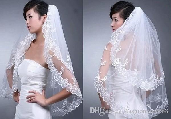 Горячая продажа на складе элегантный белый свадебная фата 2 т для свадебное платье вышивка край новый
