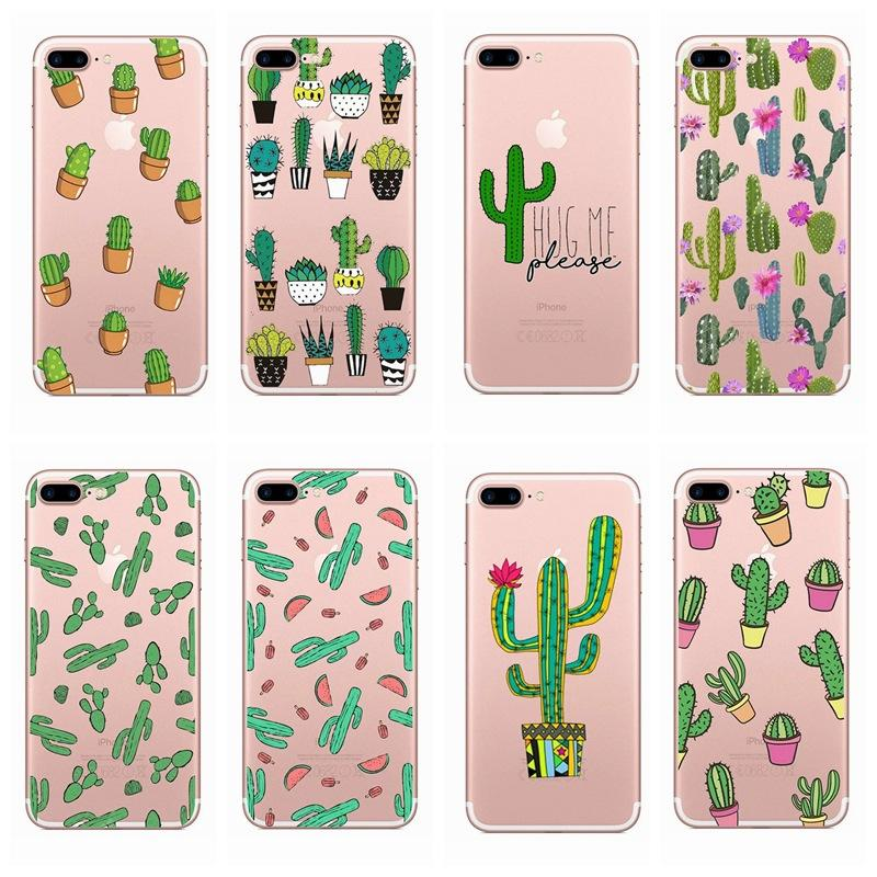 check out 699b6 3ed88 Fashion Cactus painted Clear Transparent Soft Silicone Phone Case Cover For  iPhone 5 6s 7 8 Plus iphone XR XS MAX Back Cases
