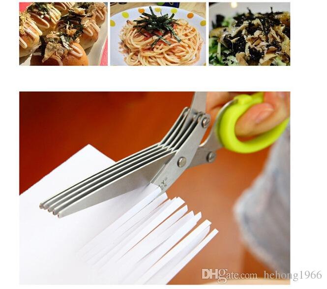 Kitchen Scissors Stainless Steel Forfex Five Layers Of Green Onion Cut Shears Seaweed Clipper Cuting Office Scissor 11 6rr R