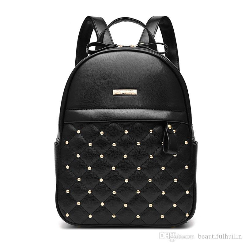 B044T Fashion Leisure Women Rivet Backpacks School Backpack High Quality Bead Female Shoulder Bag PU Leather Backpacks For Girls Mochila