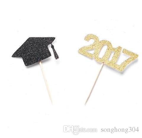 custom glitter graduation Class of 2017 Party Cupcake Toppers Engagement Bachelorette birthday Wedding Bridal baby Shower Party Decoration
