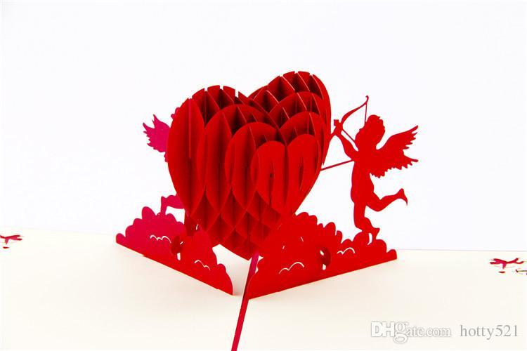 Ücretsiz kargo Cupid 'ın Kalp Yaratıcı sevgililer GreetingGift Kartları 3D Pop UP Kart Kirigami Origami Düğün Davetiyeleri