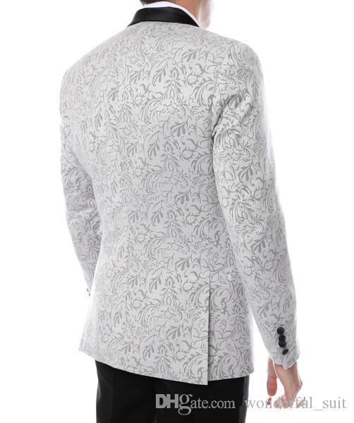 Gramercy Mens Silver Tapestry Super Slim Fit Groom Tuxedos 2016 Side Groomsmen Mens Wedding Prom Suits Custom Made Jacket+Pants+Tie