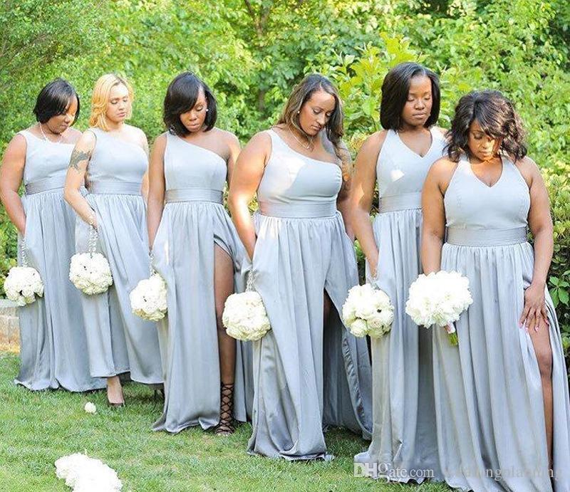 High Split Bridesmaid Dresses One Shoulder A-line Elastic Silk Like Satin Wedding Guest Maid Of Honor Dresses Formal Silver Party Gowns