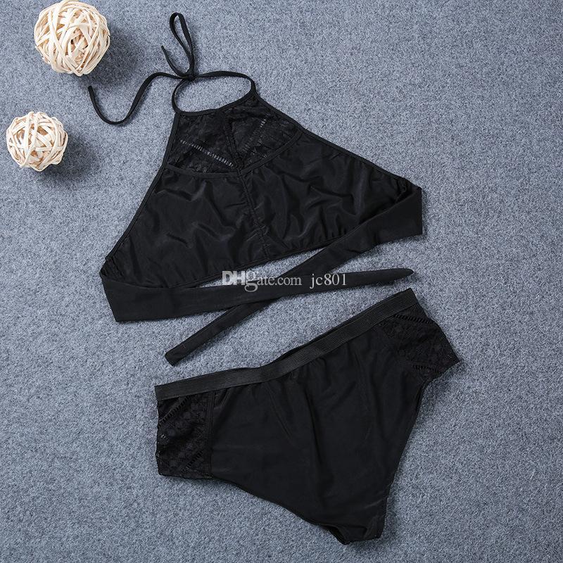 Venta al por mayor 2017 Sexy Halter traje de baño de cintura alta vendaje traje de baño traje de baño traje de baño de las mujeres Halter Bikini Set Plus tamaño L-7XL