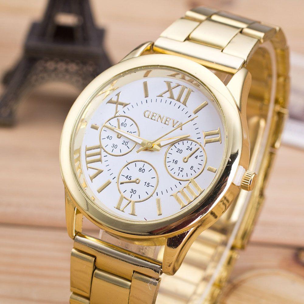 Ladies Watch Orologio al quarzo da donna Numeri romani Vestito casual Orologio in oro rosa cristallo Reloje Mujer 2016 Montre Femme