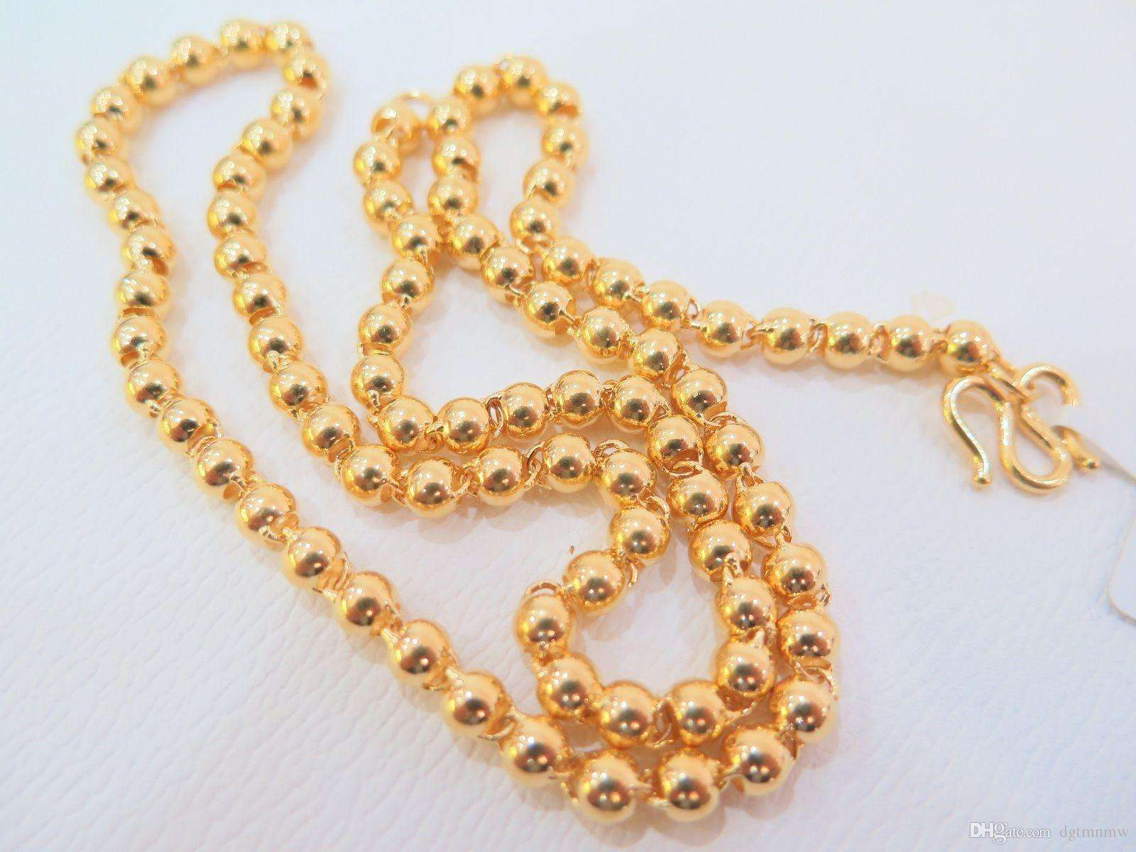 Wholesale Pure 24k Yellow Gold Necklace Women Men Luck 4mmw Smooth