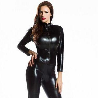 2018 womens long sleeve zentai bodysuit jumpsuit sexy black shiny latex full body zentai suit. Black Bedroom Furniture Sets. Home Design Ideas