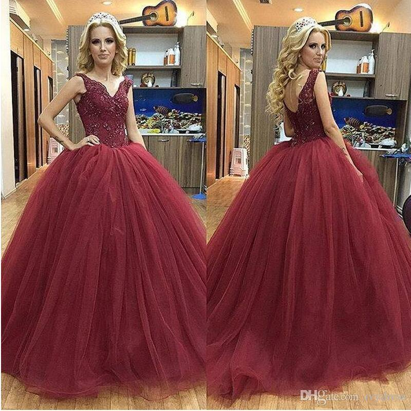 Burgundy Quinceanera Ball Gown Long Prom Dresses 2017 Tank Straps ...