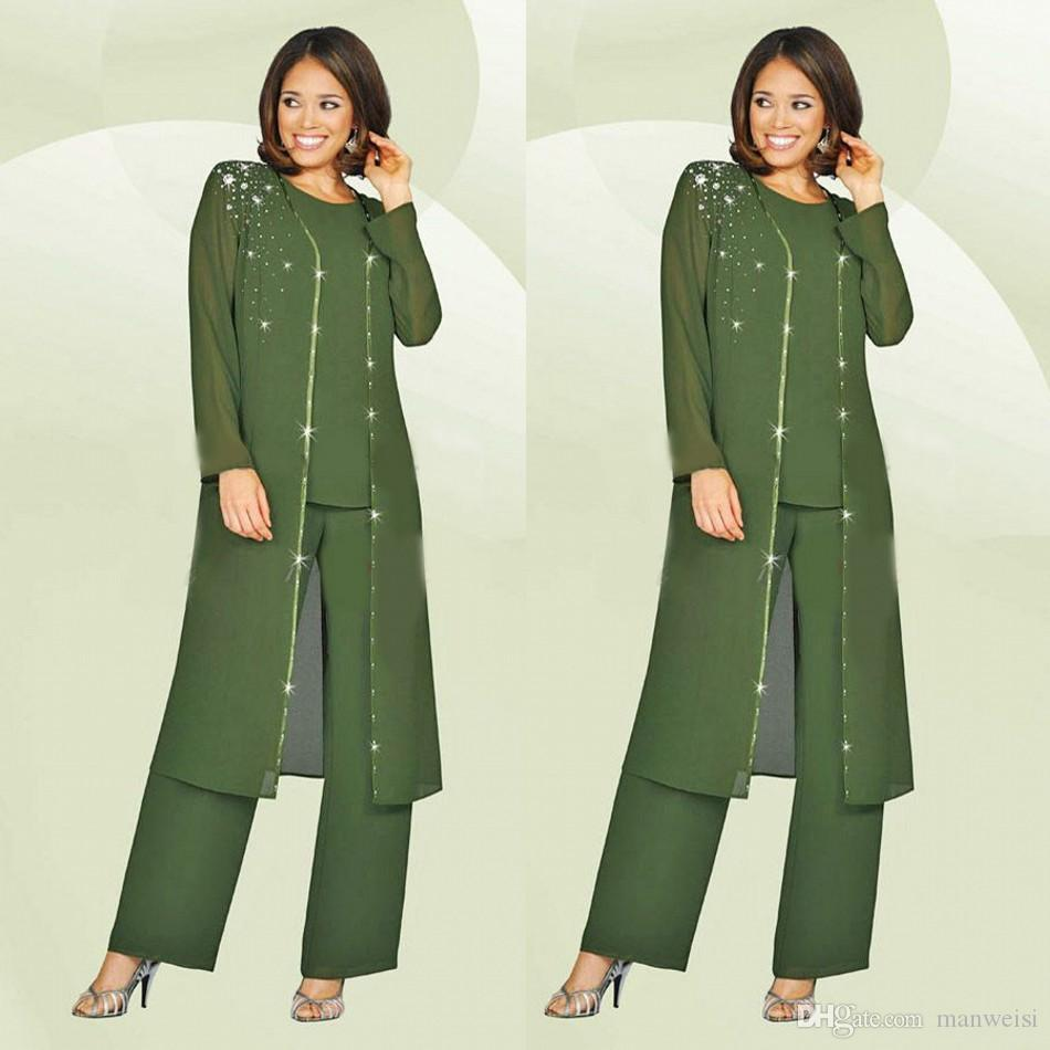 Green Plus Size Mother Of The Bride Pants Suit With Long Jacket ...