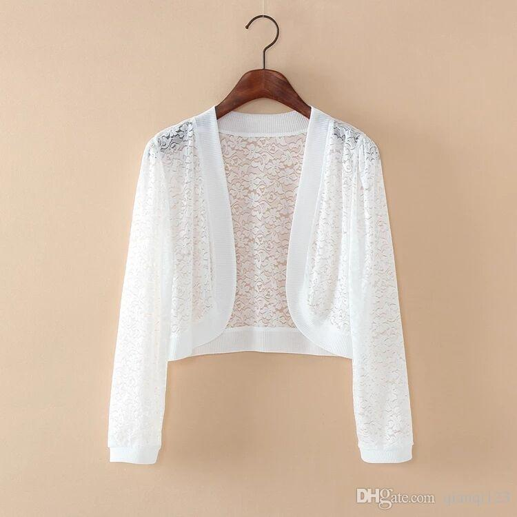 2018 Summer All Match Lace Shawl Thin Short Kanjian Jacket Size ...