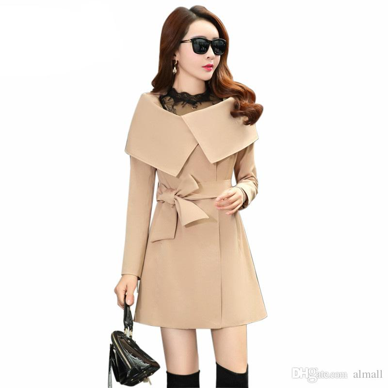 7bc415736d0 New Autumn Women Trench Coat Double Breasted Md-long Belt Large Lapel  Windbreaker Female Online with  64.0 Piece on Almall s Store