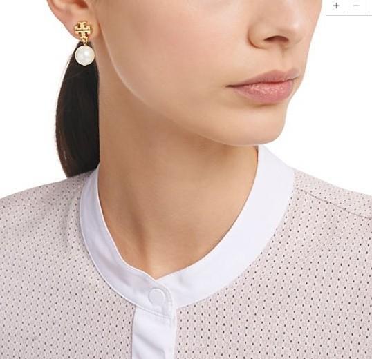 Marka adı Inci boncuk 1.3 cm saplama Küpe 18 k altın kaplama kadınlar en kaliteli takı Beyaz / Gri renk ücretsiz kargo PS5673