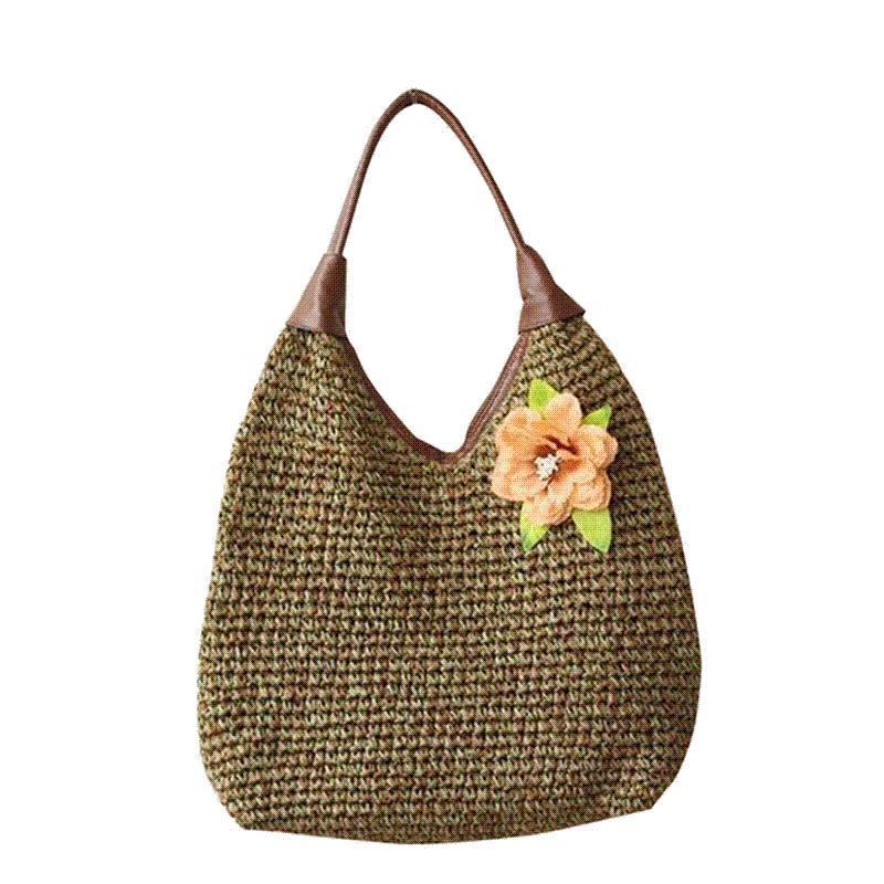 1f6ba52b174f New Trendy 2016 Summer Women Bags With Flower Casual Straw Shoulder Bag  Ladies Tote Handbags Fashion Shopping Bag BWA0465 4 Ladies Purses Tote  Handbags From ...