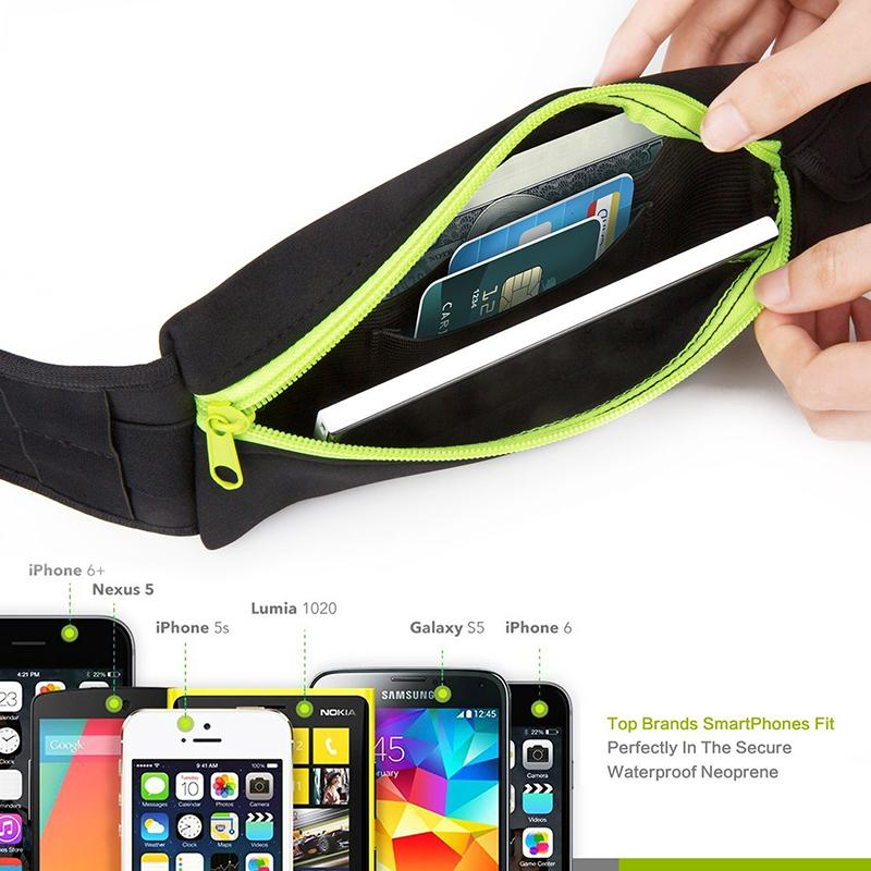 2ef6a1106090 Universal 5 inch Waterproof Sports Running Waist Pocket Pouch Belt Case Bag  For iPhone 7 Plus 6 6S 5 5S Samsung S7 edge S6 Note 5 Free Ship